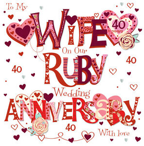 Wife ruby 40th wedding anniversary greeting card 8 square handmade image is loading wife ruby 40th wedding anniversary greeting card 8 m4hsunfo