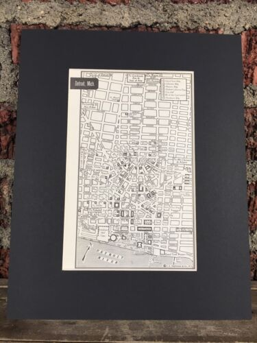 "City Map of Detroit Michigan  1958 Mid Century Black Matted 8/""x10/"" Art Print"