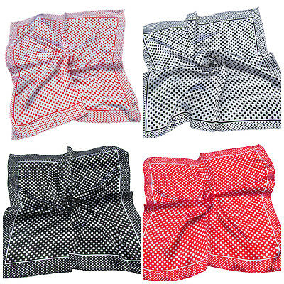 2 COLOURS SILK SATIN FEEL LADIES SMALL NECK 50cm SQUARE SCARF SPOTTED CIRCLES