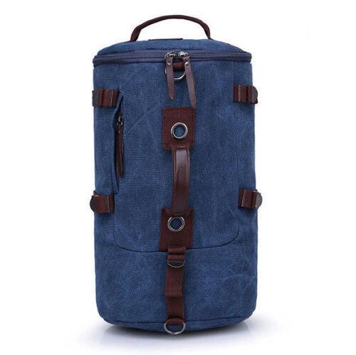 Mens-Vintage-Canvas-Leather-Hiking-Travel-Cylinder-Messenger-Tote-Bag-Backpack