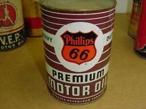 NEAR MINT ~ 1950's era PHILLIPS 66 PREMIUM Old 1 qt. Tin Oil Can