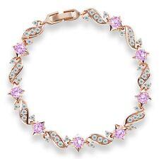 """Fantastic 18k gold filled pink sapphire crystal charms bracelet 7""""13.5g"""