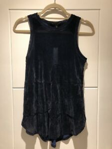 Theyskens-Theory-Midnight-Blue-Velvet-Tank-Top-P-Petite-XS-S-New-NWT