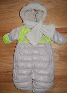 Boys Girls Tan//Green 7 am Enfant for J Crew Duodoune Baby Bunting 0-3 months