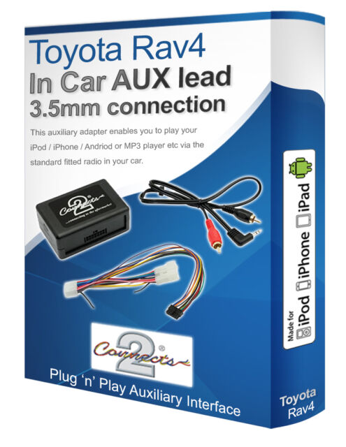 Toyota Rav4 AUX lead, iPod iPhone MP3 player, Toyota Auxiliary adaptor interface