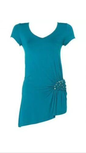 Élégant APART Jersey tunique top shirt NEUF petrol avec bijoux pierres sur le côté