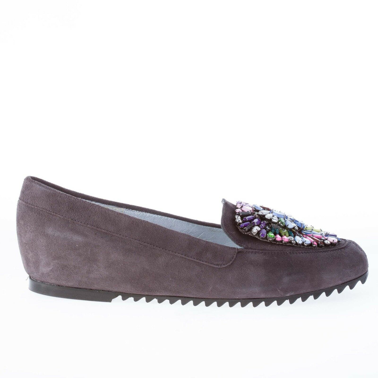 Azuree cannes Zapatos señora mujer gris loafer loafer loafer with Colorojo swarovsky and Stones  toma