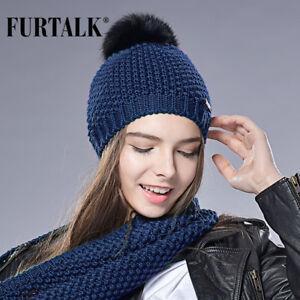 c5eb5fbeea1 FURTALK Woman Knit Beanie Hat Caps Real Fox Fur Pom Pom Hat Women ...