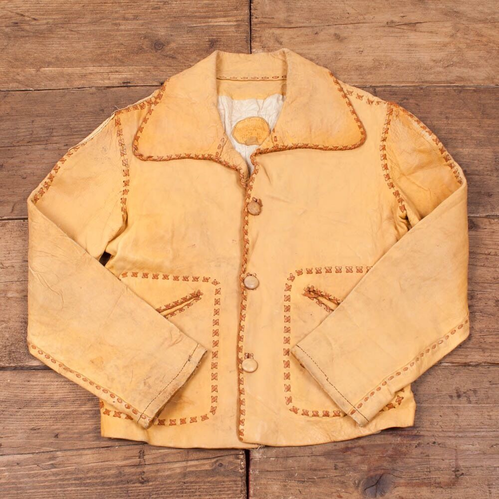Vintage 1960s North Beach Lined Leather Jacket braun damen S   Größe 8-10 R2971
