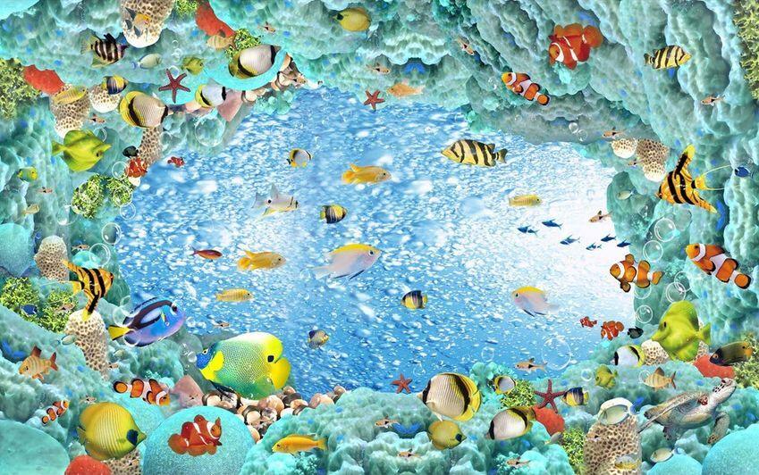 3D Wasser Sea Fisch 908 Fototapeten Wandbild Fototapete Bild Tapete Familie