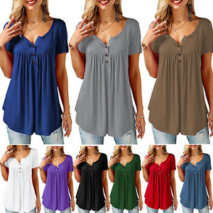 Women-Ladies-Summer-Tops-Short-Sleeve-T-Shirt-Blouse-Casual-Button-Up-Plus-Size