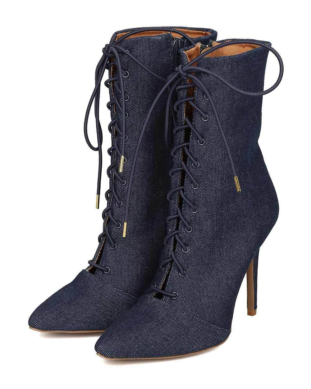 New Women Qupid Milia-63 Denim Pointy Toe Lace Up Stiletto Ankle Boot