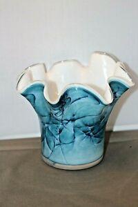 Gorgeous-Zorza-Polish-Art-Glass-Fluted-Vase-Hand-Made-Blue-Green-Azure15cms