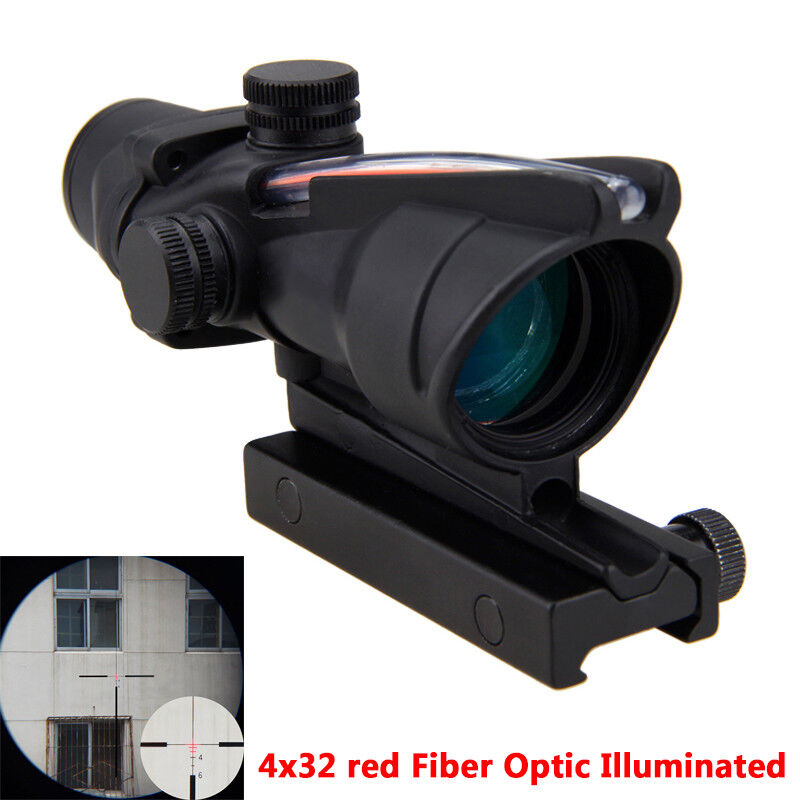 ACOG fuente de fibra 4X32 Rojo Iluminado Alcance Negro Caza Táctica Mira telescópica e