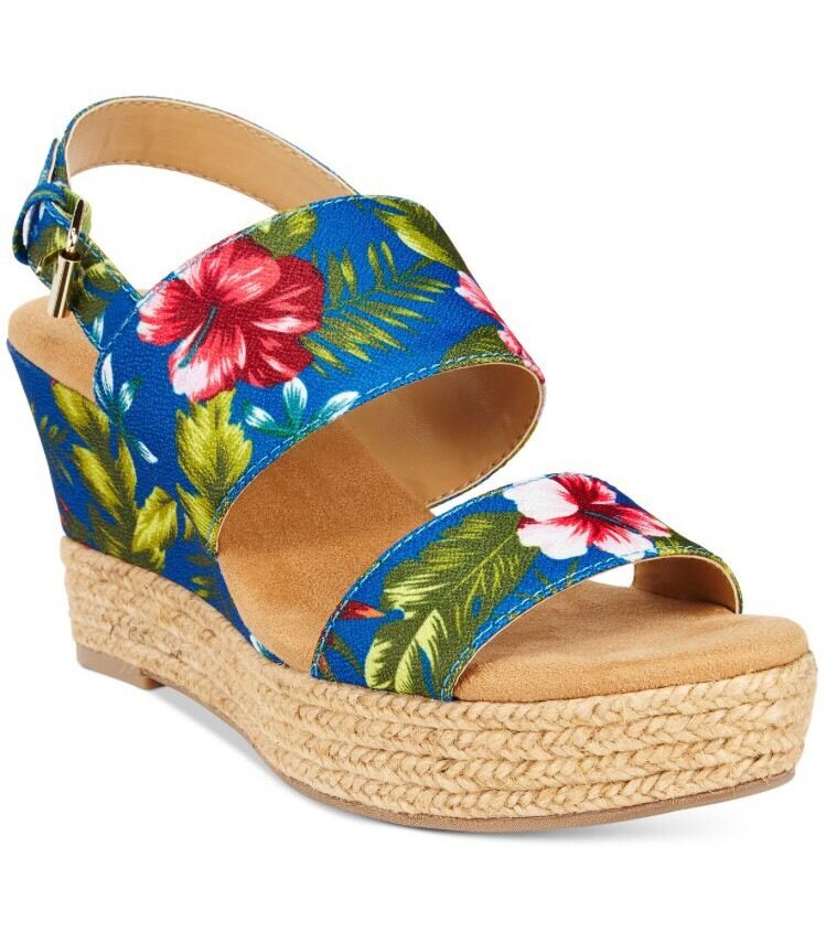 NEW White Mountain Bar Harbor Tropical Floral Wedge Sandals bluee 8.5 Tan 9.5