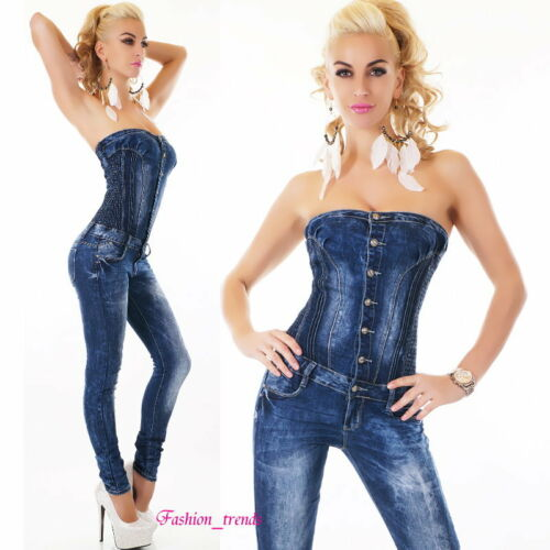 Bandeau Neckholder Jeans Overall Jumpsuit Pump Jeansoverall*XS-XL-34 36 38 40 42