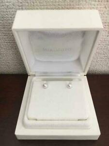 MIKIMOTO-Auth-K18WG-about-6-5mm-Akoya-Pearl-Pierced-Earrings-Used-from-Japan