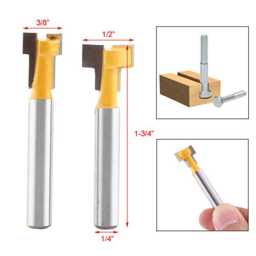 "2PCS 1//4/"" Shank T-Slot Keyhole Woodworking Cutter Router Bit 3//8/"" 1//2/"" Tool HFT"