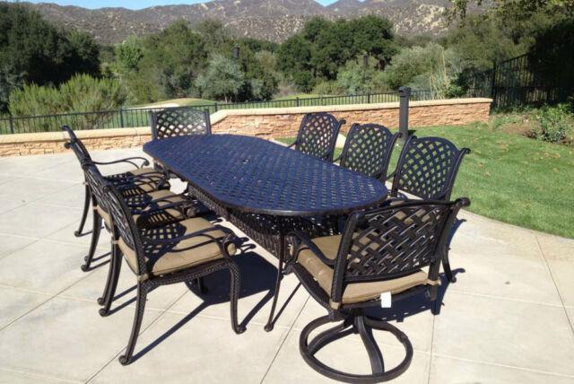 9pc Patio Dining Set Cast Aluminum Luxury Outdoor Furniture Seats 8