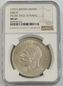 1935 GREAT BRITAIN CROWN JUBILEE INCUSE EDGE LETTERING NGC MS63  'Silver'<KM842>