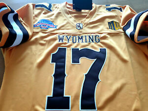 Details about Brand New! Wyoming Cowboys College #17 Josh Allen Dual Patch Sewn Jersey YELLOW!