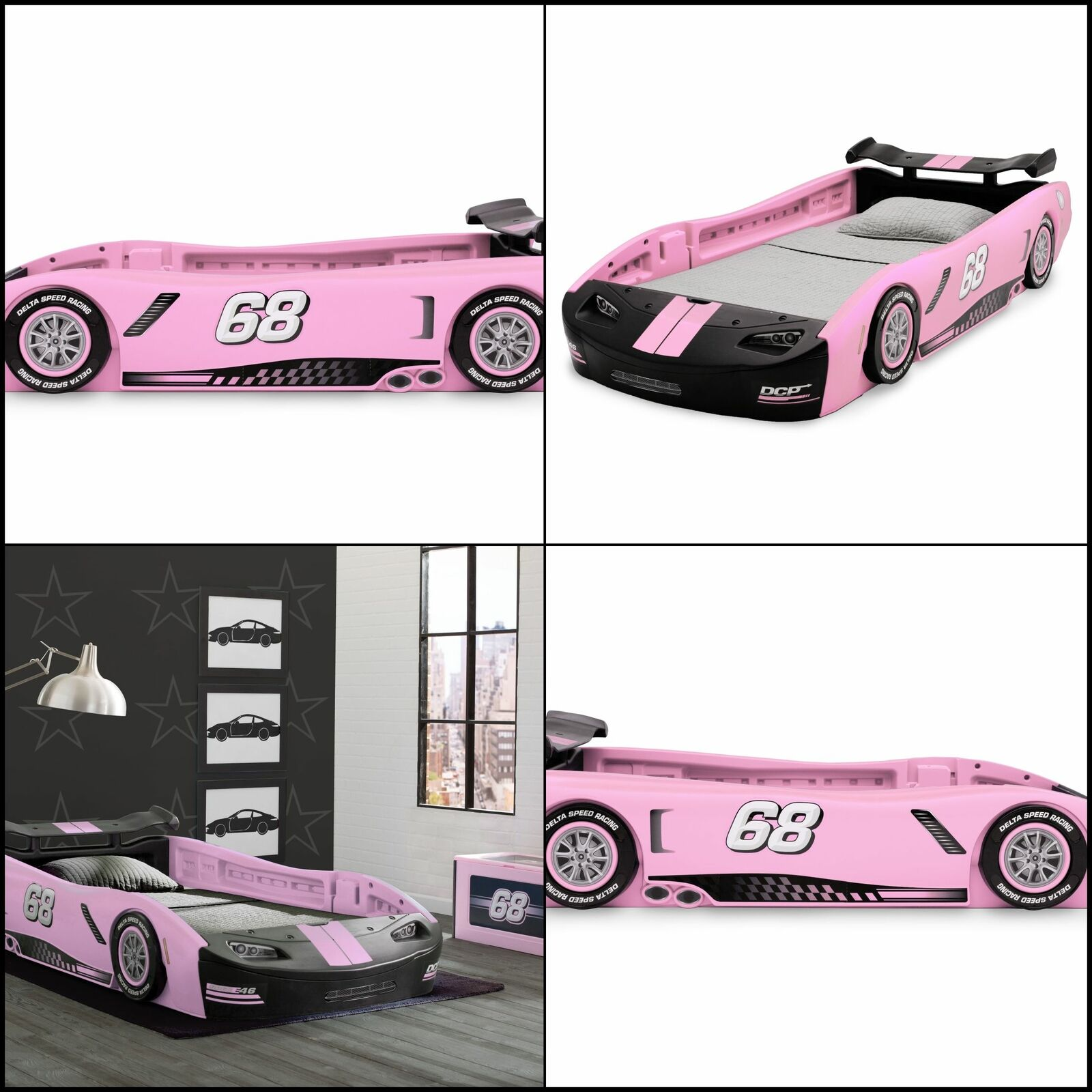 Delta Bb87064gn Pin Turbo Race Car Twin Bed Pink For Sale Online Ebay