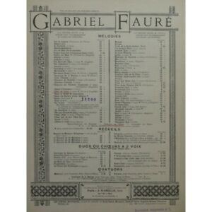 Antiquarische Noten/songbooks Faure Gabriel Moonlight Gesang Piano Ca1888 Trennwand Sheet Music Score