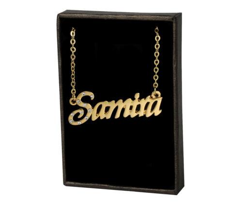 """Collar de nombre /""""Samira/"""" de 18 quilates chapado en oro-compromiso personalizado de joyas"""