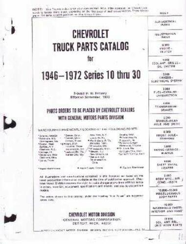 OEM Repair Maintenance Parts Book Chevy Truck C//K 10-30 Series 1946-1972