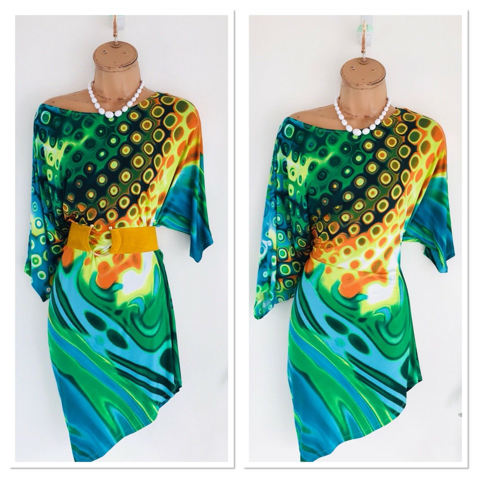 Gorgeous FRANK LYMAN Colourful Asymmetric Jersey Mini Dress Uk 10-12