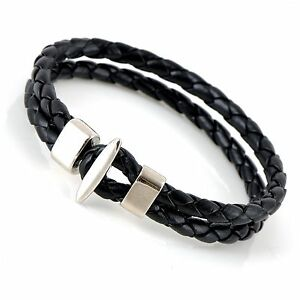 10mm-Mens-Leather-Double-Braided-Cuff-Wristband-Bracelet