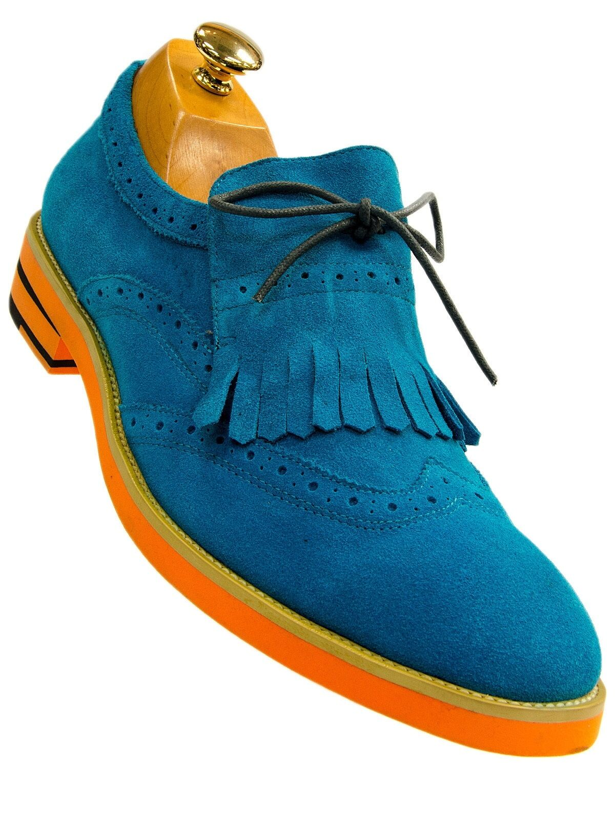 Encore Uomo Bold Blue Bold Uomo Suede Wing Tip Lace Up Dress Casual Party Trending Shoes 7a3548