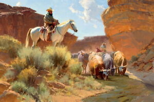 Western-Cowboys-amp-Herd-Cattle-Oil-Painting-Hd-Giclee-Printed-on-canvas-P1369