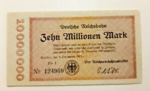 BERLIN-REICHSBAHN-Railroad-10-MILLION-1923-GERMANY-BANKNOTE-10901