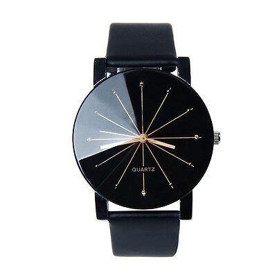 Montre décontracté Hommes Dial Quartz Horloge cuir Montre boîtier rond NOIR
