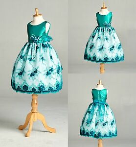 Teal Floral Embroidery Dress Flower Girl Wedding Toddler Easter Holiday #11