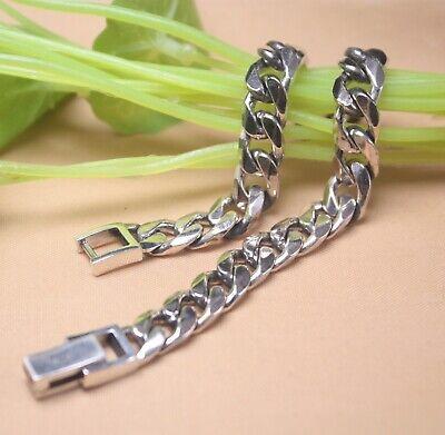 Pure S925 Sterling Silver Chain Men Women Curb Link Bracelet 16.5g// 7.8inch