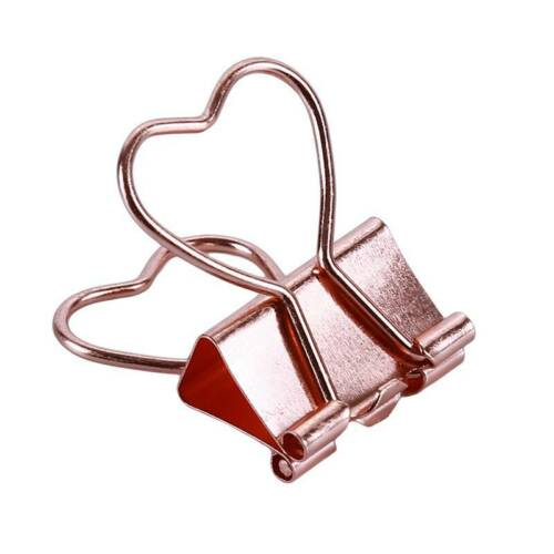 12 Heart Metal Binder Clips File Paper Clip Photo Stationary Office Supplies YD