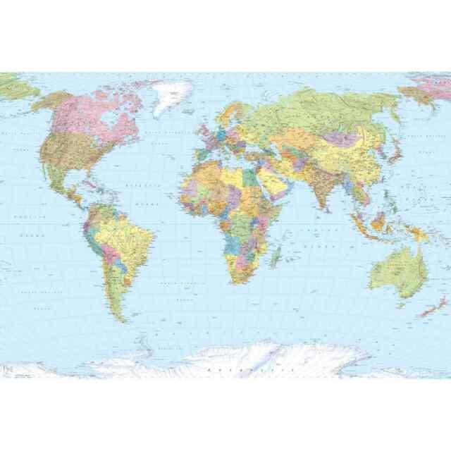 Komar Papier Peint World Map XXL Décoration Murale Déco Photo Revêtement Mural