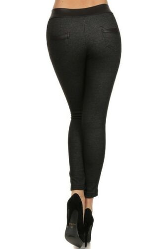 Yelete Fleece Black Jean Jegging Regular fit Skinny Leg Winter