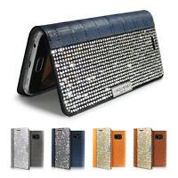 Bling Crystal Croco Genuine Leather Wallet Case Cover Samsung Galaxy S6/Edge/S7