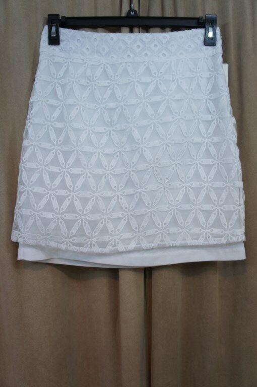 Laundry By Shelli Segal Skirt Sz 4 Optic White Crochet Lace Straight Career