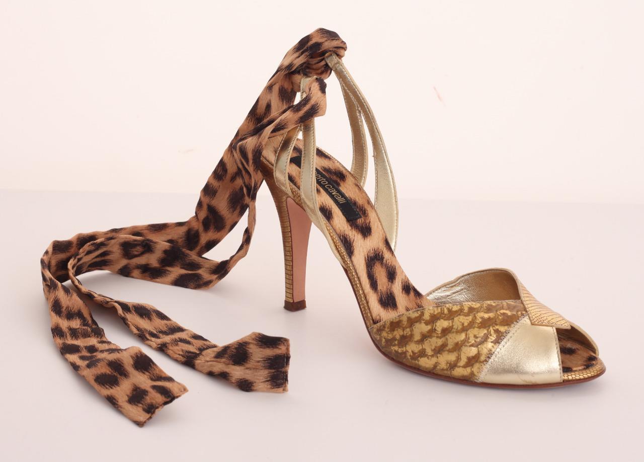 ROBERTO CAVALLI Pelle Animal Print High Heel Slide Lace-Up Pump Shoe 10-40