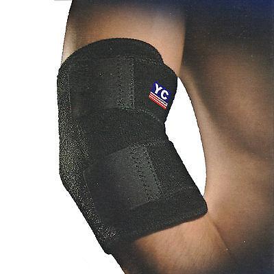 YC Black Neoprene Adjustable Elbow Support Tennis Arthritis Sleeve Brace Sports