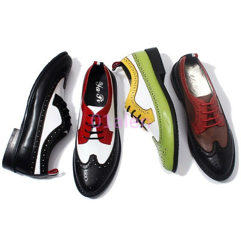 New Brogue Mens Wing Tip Flats Lace Up Dress Formal Leisure shoes color Assorted