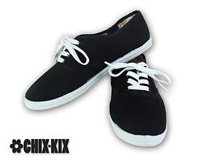 womens black canvas shoes lace up casual sneakers kicks
