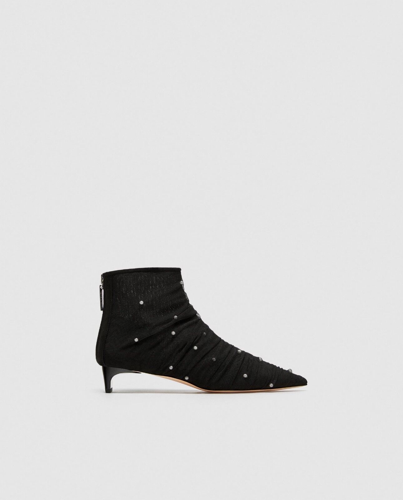 ZARA TULLE ANKLE BOOTS WITH FAUX PEARLS US 6   Euro 36