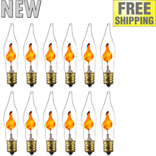 xDecorative Petite Chandelier Flicker Flame Light Bulb Candelabra Base E12 Clear