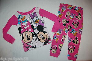 Toddler Boys L//S Pajama Set MICKEY MOUSE PLUTO Red Blue DISNEY Knit 2T 3T 4T 5T