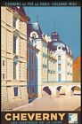 """Vintage Illustrated Travel Poster CANVAS PRINT France by train Cheverny 24""""X16"""""""